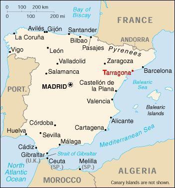 Cartina Catalogna.Mappe Relative A Tarragona