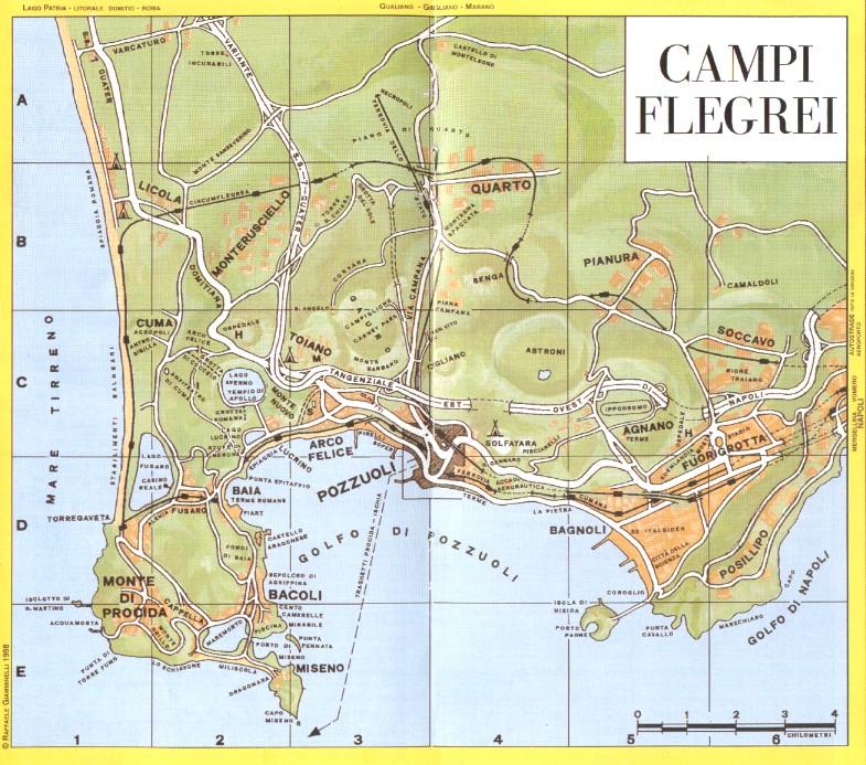 Mappa Dei Campi Flegrei Con Le Principali Localitŕ E Siti