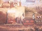 Particolare di una rappresentazione d'epoca del viaggio inaugurale della ferrovia Napoli-Portici