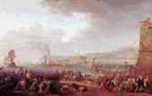 Una scena della Rivoluzione Partenopea del 1799 (le truppe francesi di Championnet che entrano in città nel mese di gennaio) in un quadro dell'epoca, conservato a Versailles.